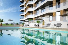 Moderne 3 SZ Apartment mit Pool in Quarteira in Meeresnahe